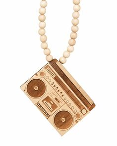 GoodWood NYC Boombox Wooden Necklace - Natural
