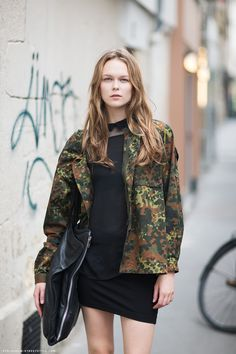 Camo Jacket- military trend for fall #streetstyle