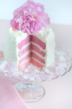 pink ombre vanilla cake with vanilla frosting