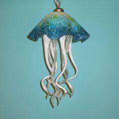Hand Blown Glass Chandelier - Jellyfish Light - Art Glass Lighting - Chandelier by PrimoLighting on Etsy