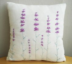 Embroidered pillow covers - and cotton cushion and pillow cases can personalize them any way you want. Cushion Embroidery, Hand Embroidery Stitches, Ribbon Embroidery, Cross Stitch Embroidery, Embroidery Patterns, Sewing Pillows, Diy Pillows, Decorative Pillows, Cushion Cover Designs