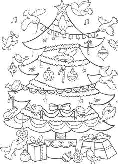 Kerstboom kleurplaat kerstmis kerst christmas coloring colouring picture: