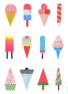ice-cream illustration - Hye Jin Chung (print, graphic design, colour, palette)