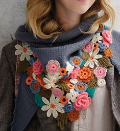 Gorgeous Crochet Flower Embellished Scarf by Phildar