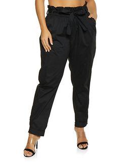 f91e9c713e9 Plus Size Belted Paper Bag Waist Pants
