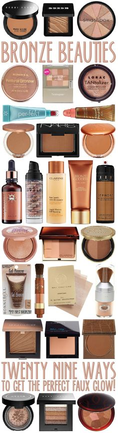 bronzer beauties: 29 ways to get the perfect faux glow!I think I might be trying one of theses soon... I'm getting tired of my Victoria's secret bronzer