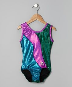 90e999a512 Take a look at this Green   Turquoise Shimmer Color Block Leotard - Girls  by Butterfly TREASURES on today!