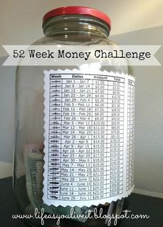 52 Week Money Challenge. A great way to save up for a big ticket item without impacting your current budget too much!