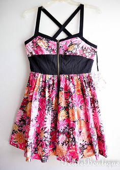 BB DAKOTA JACK DRESS PINK BLACK FLOWER PRINT EXPOSED ZIPPER FLORAL SIZE S