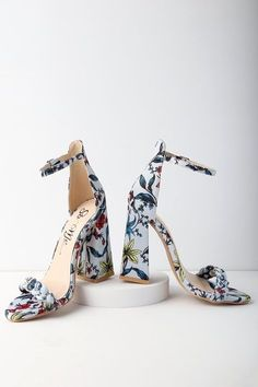Blue Multi Satin Ankle Strap Heels