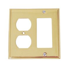 "Emtek 29143 4-5/8"" x 4-5/8"" Single Rocker Single Duplex Colonial Style Forged Br Lifetime Polished Brass Wall Controls Wall Plates Combination Plate"