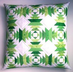 Emerald Isles Quilted Pineapple Block Pillow Cover - 18 inches square. $48.00, via Etsy.