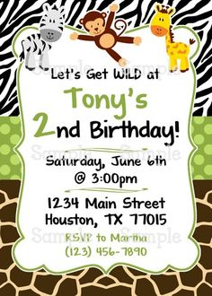 Printable Jungle Safari for Boys Personalized Birthday Invitation #printable #partydecoration #cupcaketoppers #cupcakewrappers #thankyoutags #waterbottlelabels #candybarwrappers #tickets #partyinvitation #birthdayparty #black #white #brown #green #birthday #safarianimals #jungle #zebra #giraffe #monkey #poshdots #boy #wild #DIY #youprint #partyprintables