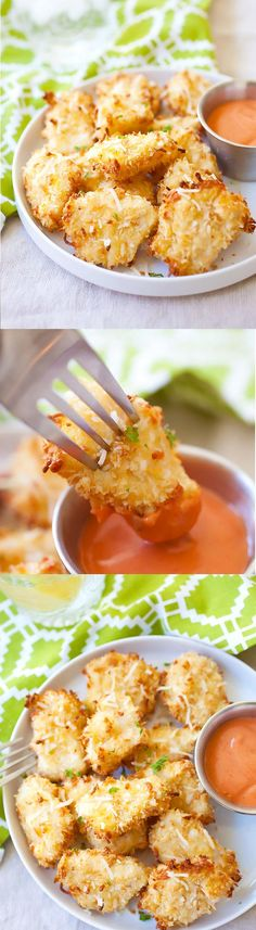 Parmesan Baked Chicken Nuggets – crispy chicken nuggets with real chicken with no frying. Easy and yummy!! | rasamalaysia.com