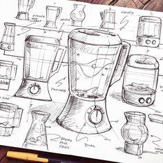whipped up a few blenders for this week's @weeklydesignchallenge . . . . . #doodles #sketch #sketches #design #sketching #idsketching #sketchbook #ballpoint #monami #moleskine #industrialdesign #productdesign #blender #homepod #sketchzone #weeklydesignchallenge #Kitchen #kitchenappliance