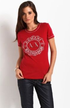 $32.00, Armani Exchange Embellished Varsity Seal Logo Tee