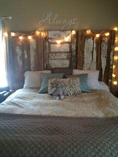 Master bedroom with rustic doors