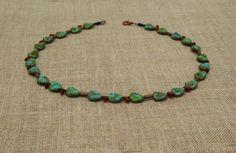 turquoise Czech glass necklace by BijoubeadsLondon £23.00