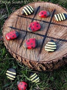 Outdoor Tic Tac Toe with Lady Bug rocks