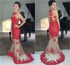long prom dress, red prom dress, lace prom dress, evening prom dress, cheap prom dress, party prom dress, mermaid prom dress, 141246