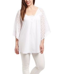 Another great find on #zulily! White Eyelet Cape-Sleeve Tunic #zulilyfinds