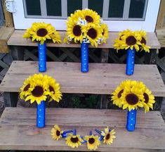 Sunflower Bouquet Sunflower Wedding Yellow by SilkFlowersByJean, $269.00
