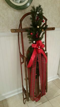 My sled decorated for Christmas!