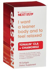 Next Step Tonalin CLA + Chamomile ( ) 90 Softgels  Product Label I want a leaner body and to feel relaxed Clinically studied Tonalin® helps you reduce body fat & maintain lean muscle Contains chamomile to support relaxation   Read more: Tonalin CLA + Chamomile - Buy Tonalin CLA + Chamomile ( ) 90 Softgels at vitamin shoppe  Follow us: @The Vitamin Shoppe on Twitter | THEVITAMINSHOPPE on Facebook  #VSsummersweepstakes