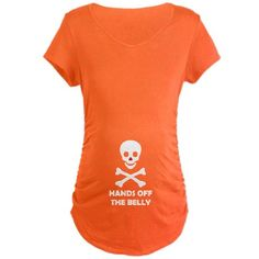 White Skull - Hands Off Maternity Dark T-Shirt #circusvalley #maternity #pregnancy #funny