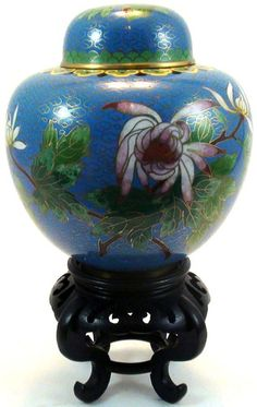 Chinese Cloisonne Lidded Ginger Jar on Stand  over 7 1/2 on stand VGC