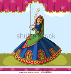 Vector design of colorful Rajasthani puppet doing Garba folk dance from Gujarat, India Source by kan Rangoli Designs, Rajasthani Painting, Rajasthani Art, Dance Paintings, Indian Art Paintings, Madhubani Art, Madhubani Painting, Adobe Indesign, Hand Painted Dress