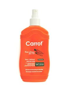 Carrot Sun Tan Accelerator Tanning Spray with L-Tyrosine, Carrot, Fruit, Nut Oil Browning, Papaya Oil, How To Tan Faster, Carrot Cream, Tanning Tips, Tanning Products, Tanning Cream, Peda, Vitamin E