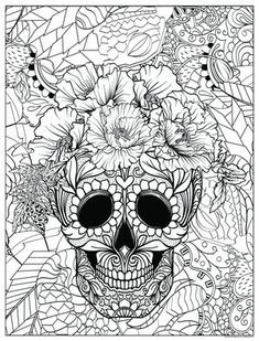 Cat Coloring Page, Adult Coloring, Coloring Books, Coloring Pages, Floral Skull, Poster Colour, Camping Activities, To Color, Poster On