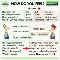 Questions and Answers: How do you feel? More details about saying how you feel and common health problems here: http://www.vocabulary.cl/english/health-problems.htm
