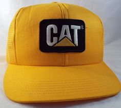 NEW vintage USA made MESH Snapback Cat Trucker Hats Caterpillar Yellow Caps f1839f2f8af6