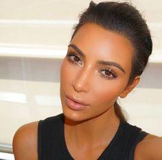 makeupbymario: #fresh n' #clean today. @kimkardashian hair @michaelsilvahair #MakeupByMario ❤️❤️❤️