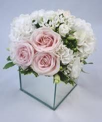 Flowers Arrangements Mirror Vase Centrepiece Pink Rose Design by Pollen Floristry Gallery Square Wedding Tables, Wedding Table Centres, Wedding Boxes, Wedding Flowers, Wedding Ideas, Bling Wedding, Wedding Decor, Wedding Stuff, Dream Wedding