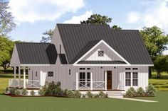 This one-story two-bed farmhouse plan has a metal roof board and batten siding and a welcoming front porch.Upon entry a cozy fireplace with surrounding built-ins invites you into the living room. The kitchen situated just past the living room offers an island with seating for two and a barn-door pantry.A light-filled breakfast nook is open to the kitchen and provides easy access to the side porch which wraps around to the back deck.The first-floor master suite has a full bathroom… House Plans One Story, Cottage House Plans, Best House Plans, Small House Plans, Cottage Homes, One Story Houses, Small Cottage Plans, Small Country Homes, Small Farmhouse Plans