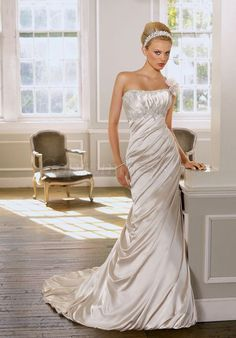 sheath Strapless empire Pleated Court Train wedding dress picture 1