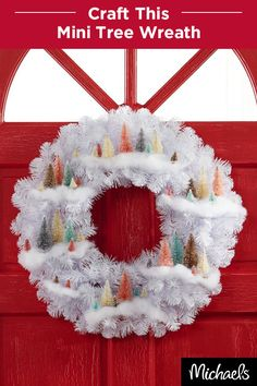 Craft a winter wonderland in a fun holiday wreath. Add pastel bottle brush trees and buffalo snow to a white wreath to adorn your door. Get everything you need to make this wreath at your local Michaels.