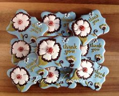 Fernwood Cookie : such beautiful thank you decorated cookies.  Based on one of her favorite scrapbook papers.