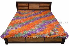 Indian Bed Cover Multicolored Tie Dyed Printed Bed Sheet Double Cotton IWUS BD22 #Handmade