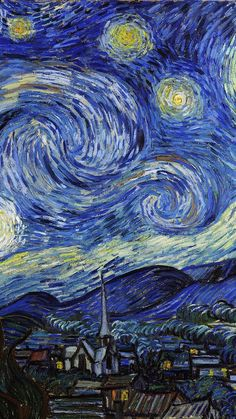 Blue painting (The Starry Night - Vincent van Gogh IPhone wallpaper, background Van Gogh Wallpaper, Vintage Wallpaper, Painting Wallpaper, Painting Art, Blue Painting, Vincent Van Gogh, Van Gogh Pictures, Starry Night Wallpaper, Starry Night Art