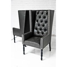 Captivating Ultra Tall Mod Wing Dining Chair In Faux Black Leather ($1,195) ❤ Liked On Good Looking
