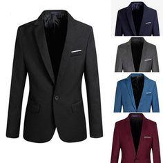 Mens Men Casual Slim Fit Formal One Button Suit Blazer Coat Jacket Tops Stylish #OTHER #BasicCoat