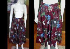 Vintage 1970s GUNNE SAX Plum Purple Maroon Floral Skirt Calico Gunne Sax Great Condition by WestCoastVintageRSL, $34.00