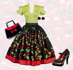 Retro pinup outfit: Cherries Color