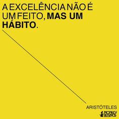 A excelência não é um feito, mas um hábito.  (Aristóteles)