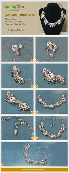 The tutorial on how to make delicate glass bead chain necklace for girls will catch your eyes a lot~