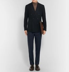 Outlining the importance of smartness and practicality in his menswear, Sir <a href='http://www.mrporter.com/mens/Designers/Hardy_Amies'>Hardy Amies</a> said: 'A man should look as if he had bought his clothes with intelligence, put them on with care and then forgotten all about them.' Expertly tailored from superbly soft cashmere, this midnight-blue blazer is designed with a sophisticated double-breasted front and sharp peak lapels. The satin butterfly lining ensures it layers smoothly but…